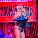 Üla Überbusen performing at the Mason Dixie Burlesque Tour on February 26, 2015 at Three Links, Dallas, Texas