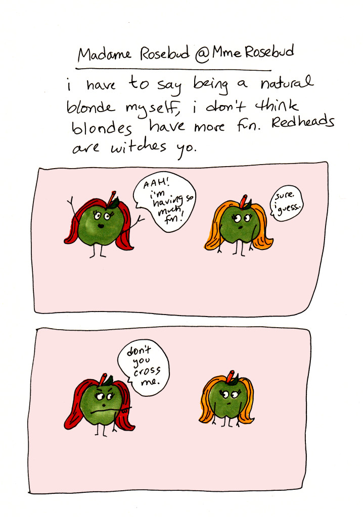 This is the fifth installment if the funny cartoon, #stripperproblems by Lauren Barnett. The redhead tomato thinks that the blonde tomato doesn't have more fun.