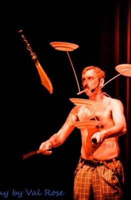 Adriano Fettuccini performing at the Hundred Watt club burlesque show at the Electric Theatre in Guildford, England..