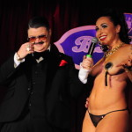 Angie Pontani and Murray Hill onstage at the New York Burlesque Festival 2016 Saturday night Extravaganza at BB Kings.