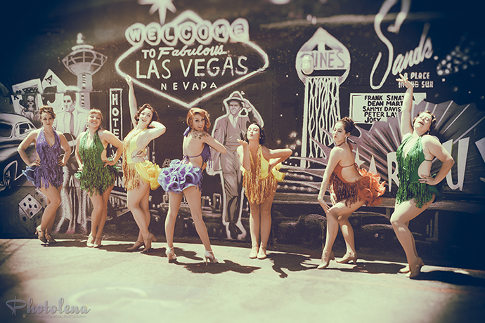 Atomic Cherry Bombs at the 2016 Burlesque Hall of Fame pinup photo safari in Las Vegas.