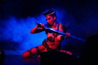 Aurora Starr performing at The 3rd Annual Asian Burlesque Spectacular at Drom NYC.