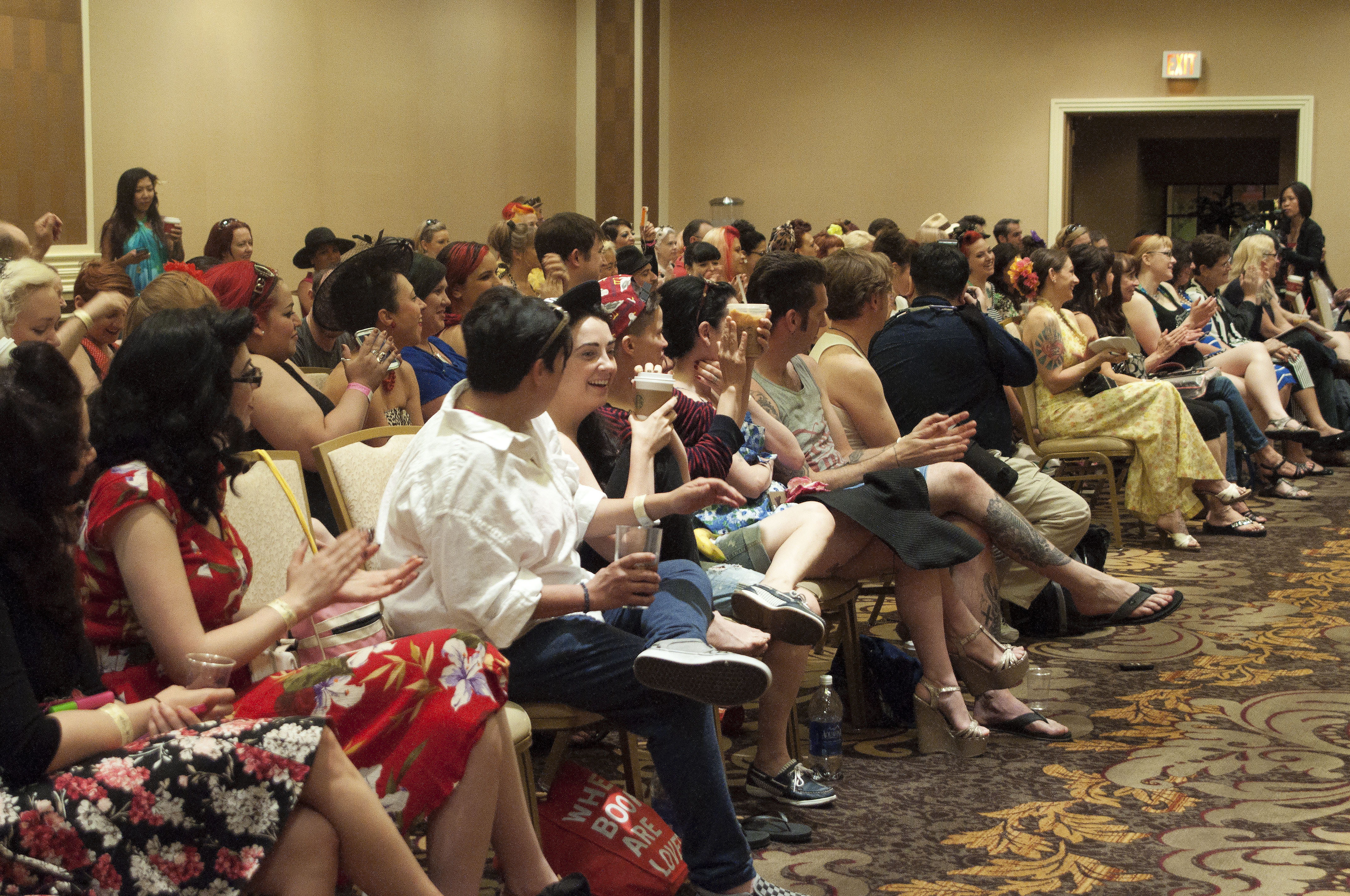 A packed house gathers early on Sunday morning to hear the Legends of Burlesque tell their stories at the Legend Panel