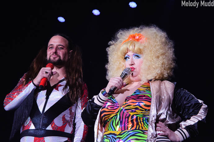 Jonny Porkpie and Blanche DeBris performing at Burlesque Hall of Fame 2017 Miss Exotic World Saturday night Tournament of Tease in Las Vegas.