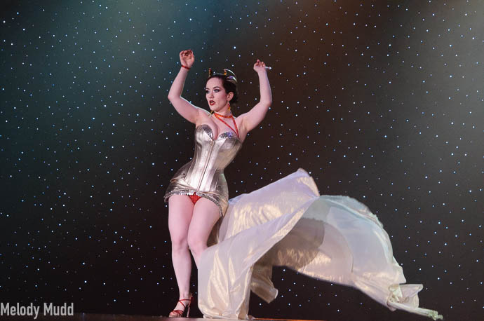 Medianoche performing at Burlesque Hall of Fame 2017 Miss Exotic World Saturday night Tournament of Tease in Las Vegas.