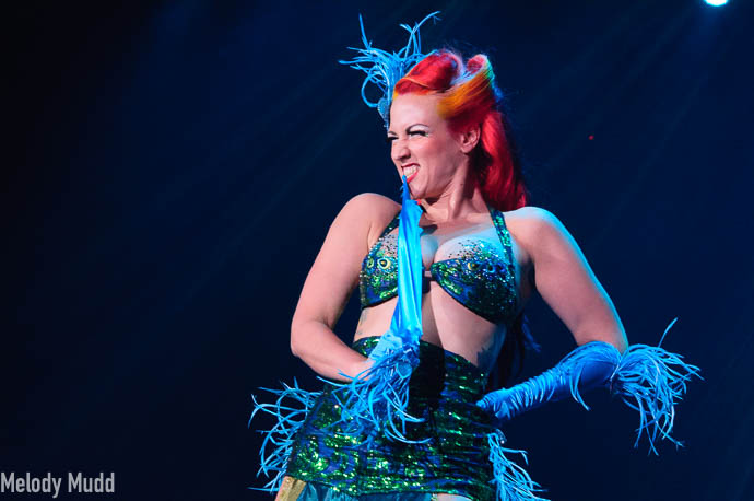 Melody Mangler performing at Burlesque Hall of Fame 2017 Miss Exotic World Saturday night Tournament of Tease in Las Vegas.