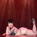 Miss Bettie Bombshell performing at Burlesque Hall of Fame 2017 Miss Exotic World Saturday night Tournament of Tease in Las Vegas.