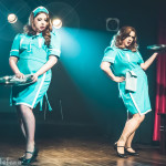 Betty Quirk and Dolly Monroe performing at Peepshow TO's Twin Peaks Burlesque: Fire Strip With Me, in Toronto