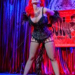 Blaze performing at the Mason Dixie Burlesque Tour on February 26, 2015 at Three Links, Dallas, Texas