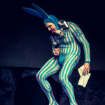 Scotty the Blue Bunny performing at the New York Burlesque Festival 2015 Sunday night Golden Pasties awards show at Highline Ballroom.
