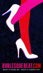 Burlesque Beat graphic showing two legs in hose and heels, with website name and tag line.