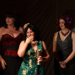 The Brassy Award is presented to Mistress Kali at the 2015 Great Burlesque Exposition 9, The Main Event.
