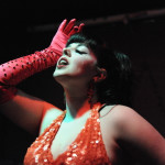Bunnie Buxomm performing at the Hollaback Girls Benefit Burlesque Show