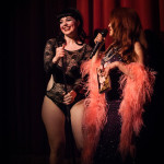 Bunny Buxom and Jo Boobs onstage at Bedroom Burlesque: A Penthouse Forum Release Party With The New York School of Burlesque