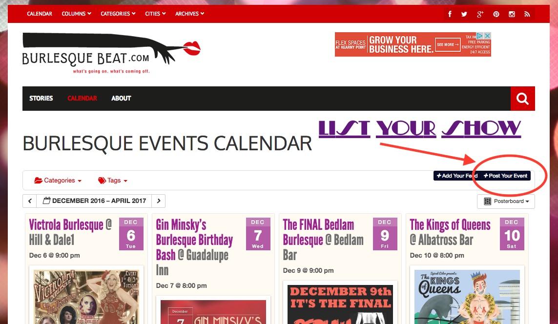 How to list your show on Burlesque Beat's listings calendar.