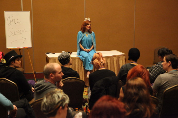 Reigning Queen of Burlesque, Miss Exotic World 2015 Trixie Little teaching at Burlycon 2015, photo Don Spiro