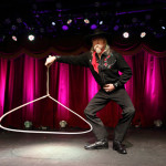 Chris McDaniel performing at the New York Burlesque Festival 2015 Friday night premiere party at Brooklyn Bowl.