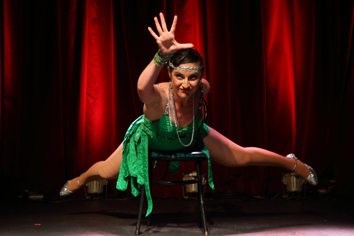Coney Bow performing at the New York Burlesque Festival 2015 Friday night premiere party at Brooklyn Bowl.