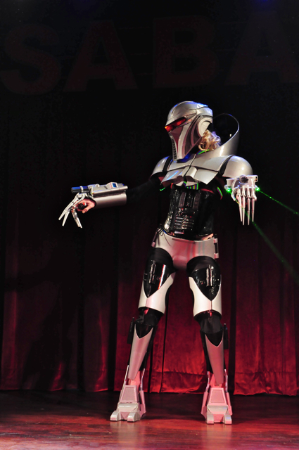 Stormy Leather burlesque as Battlestar Galactica Cylon