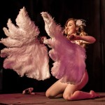 Daisy Dalores performing at Bluestocking Lounge burlesque show and cabaret at the Grand Theatre in Swansea, Wales