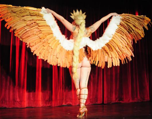 Dangrrr Doll performing at the 2015 New York Burlesque Festival Thursday Night Teaser Party.