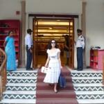 Dita Von Teese shops for silk saris in New Delhi, India.