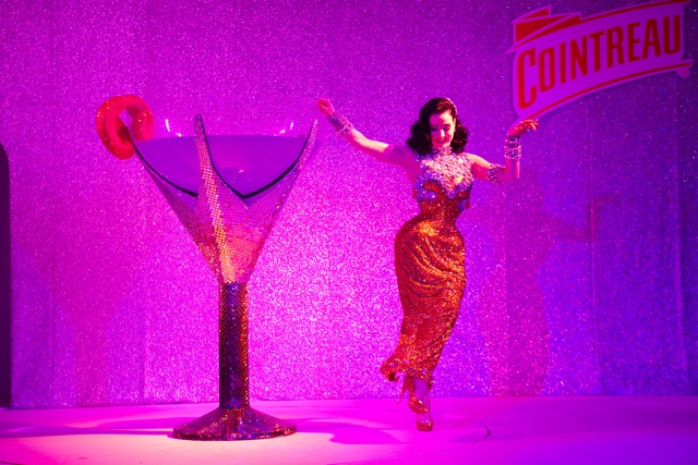 Dita Von Teese performs her martini glass number at Be Cointreauversial party in Bangkok, Thailand