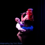 Divine Miss Em performing at the Hundred Watt club burlesque show at the Electric Theatre in Guildford, England..