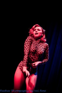 Felicity Furore performing at the Hundred Watt club burlesque show at the Electric Theatre in Guildford, England..