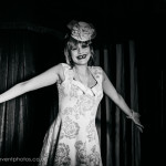 Fifi Croissant performing at London burlesque show, Burlesque in Underland.