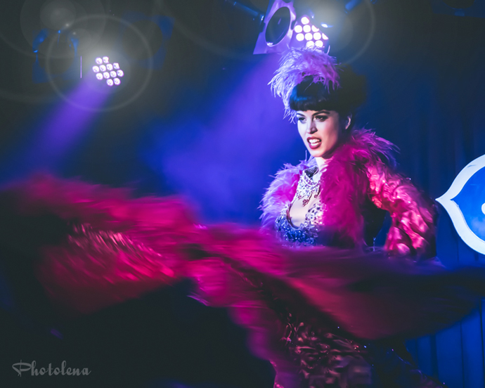 Ginger Valentine performing at the 2015 New York Burlesque Festival Saturday Night Spectacular at B.B. King Blues Club.