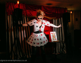 Good Ness Gracious performing at London burlesque show, Burlesque in Underland.