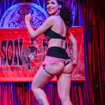 Hazel Honeysuckle performing at the Mason Dixie Burlesque Tour on February 26, 2015 at Three Links, Dallas, Texas