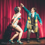 Helen Tronna and Titus Androgynus performing at Nerd Girl Burlesque's Fantastic Breasts and Where to Find Them Harry Potter burlesque tribute show in Toronto.