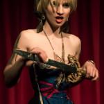 Helen of Tronna performing at Nerd Girl Burlesque's Video Game Burlesque Tribute Show, Toronto.