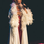 Holly Carroll performing at the 2015 Burlesque Hall of Fame Titans of Tease Reunion Showcase.