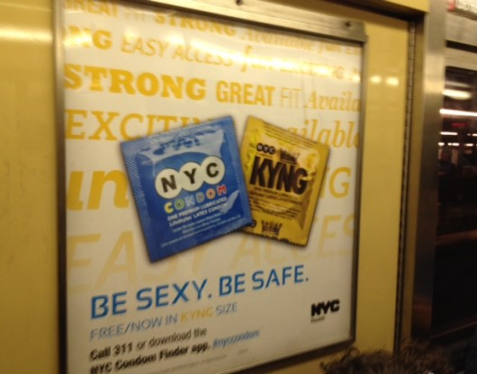 NY Subway ad for where to find free condoms and stay safe