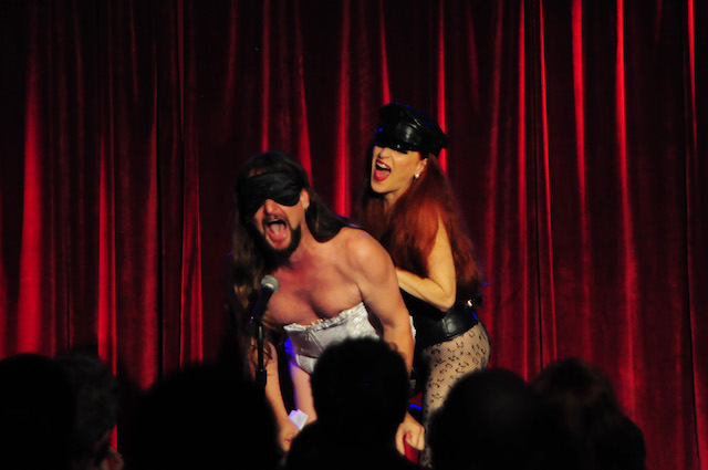 Johnny Porkpie and Jo Boobs performing at the 2016 New York Burlesque Festival Thursday night show at The Bell House.