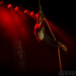 Aerialist Liza Rose performing at New Orleans burlesque show The Joy of Tease