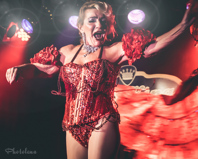 Judith Stein performing at the 2015 New York Burlesque Festival Saturday Night Spectacular at B.B. King Blues Club.