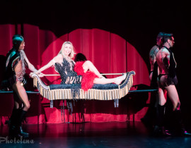 Julie Mist performing at the 2016 Burlesque Hall of Fame weekend Friday Night Titans of Tease Reunion Showcase.