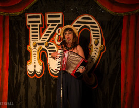Anna Lou Larkin performing at the Kinky and Quirky burlesque cabaret show at the Majestic Templestowe Hotel in Torquay.