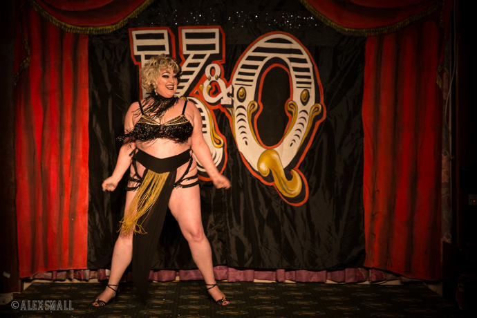 Rubyyy Jones performing at the Kinky and Quirky burlesque cabaret show at the Majestic Templestowe Hotel in Torquay.