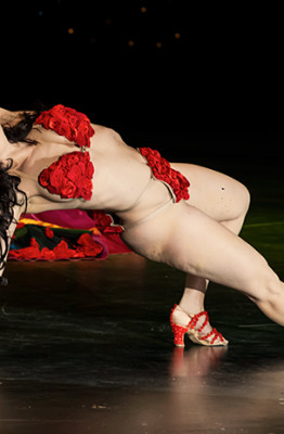 Kristina Nekyia performing at the Burlesque Hall of Fame 2014 Icons and Allstars Sunday night show.