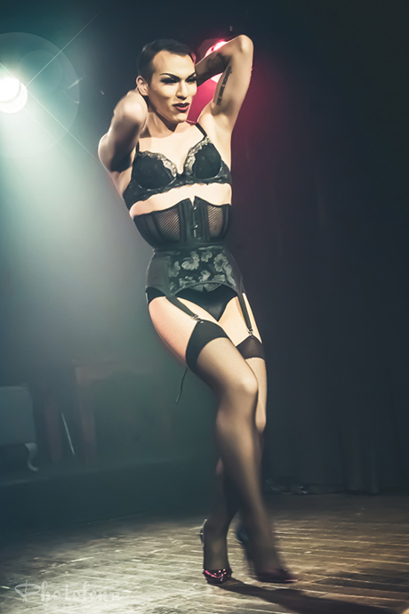 Leelando performing at Peepshow TO's Twin Peaks Burlesque: Fire Strip With Me, in Toronto