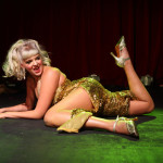 Lil' Miss Lixx performing at the New York Burlesque Festival 2015 Friday night premiere party at Brooklyn Bowl.