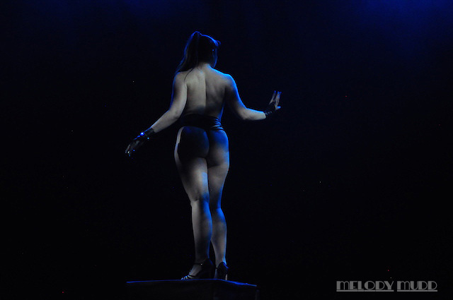 Lila Luxx performing at the Burlesque Hall of Fame 2017 Movers Shakers and Innovators Showcase in Las Vegas.