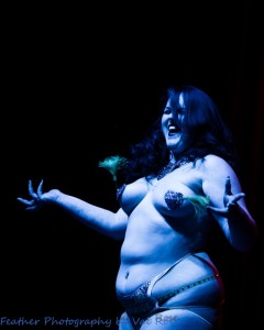 Lilyana L'Amour performing at the Hundred Watt club burlesque show at the Electric Theatre in Guildford, England..