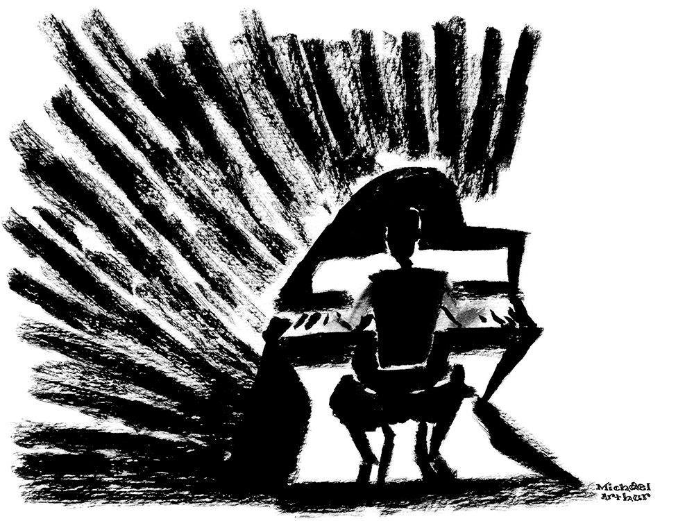 All black pen and ink drawing of Matt Ray playing piano at Joe's Pub for Taylor Mac's 24-History of Popular Music.