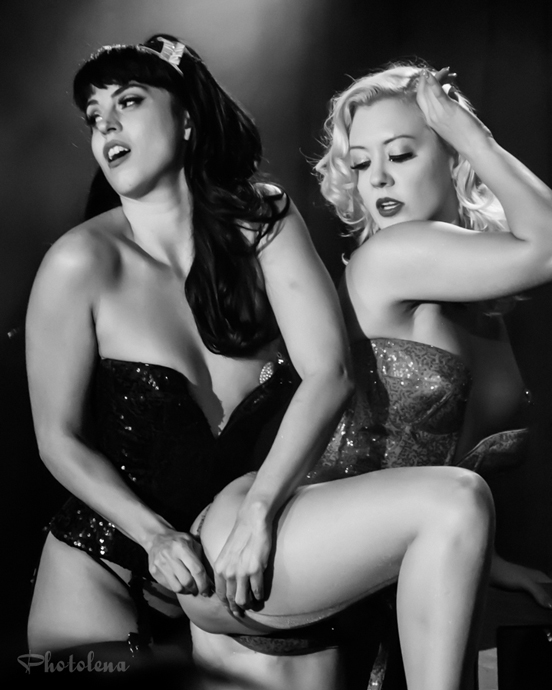 Missy Lisa and Ginger Valentine performing at the 2015 New York Burlesque Festival Saturday Night Spectacular at B.B. King Blues Club.